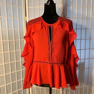 Missguided red insert frill blouse, size 10 NWT